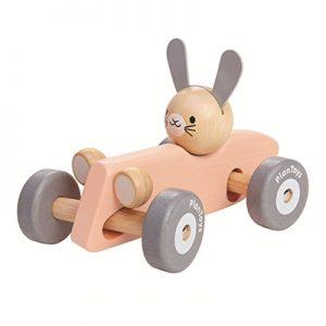 Hunnie-PlanToys-houten-auto-konijn-pastel